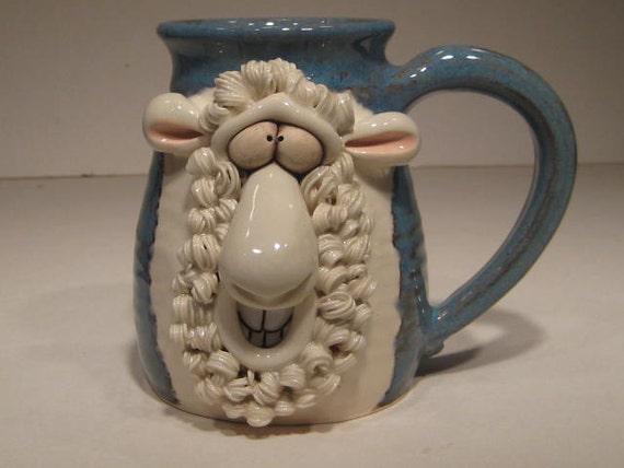 White Sheep Mug  .... Baaahhhh . Lefty ...               e661