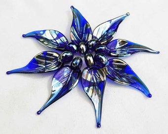 8 Metallic Cobalt Blue Leaves,  handmade glass bead leaves, lampwork beads by Beadfairy Lampwork, SRA