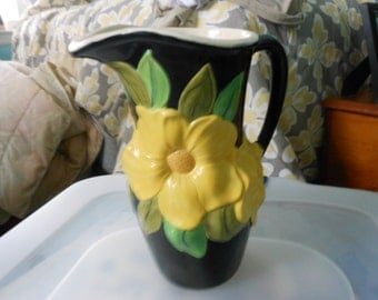Pitcher Vase Black with Yellow Flower Pitcher Vase