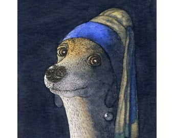 Whippet Greyhound lurcher dog 8x10 art print - Girl with a pearl earring Vermeer
