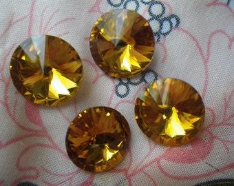 Golden Topaz 18mm Rivoli Chinese Crystal 4 Pcs