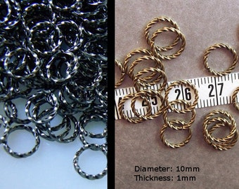 Twisted 10mm Brass Jumprings in Gunmetal or Brass Ox Finish