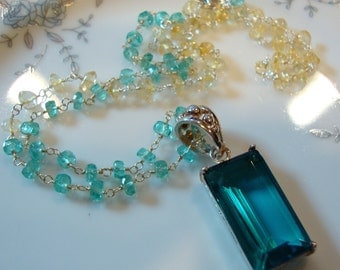 Teal Blue Quartz Apatite Citrine Necklace