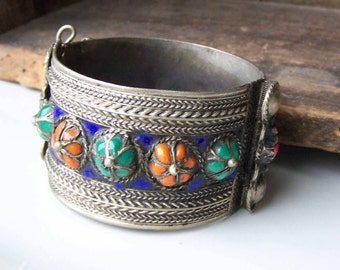 REDUCED Vintage Afghan Bracelet, Vintage Brass Bracelet, Colorful Brass Bracelet, Vintage Bracelet, Tribal Bracelet, Etsy, Etsy Jewelry
