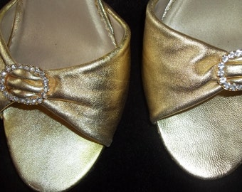 Seychelles Vintage Metallic Gold Leather Pin up Girl Pumps - Size 10