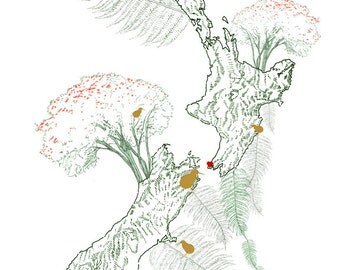 NEW ZEALAND Map Drawing (Art Print) Ferns and Kiwi Bird Wedding Anniversary Gift Travel Home Moving Family Trip Memento Nursery