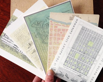 SAVANNAH POSTCARDS (Pack of 10) Savannah Wedding Guest Gift Georgia Architectural City Map Drawings SCAD Savannah Squares Realtor Stationery