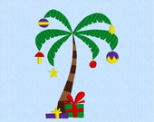 Christmas Palm Tree with Ornaments and Presents machine embroidery design file