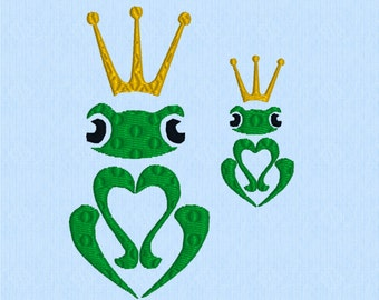Frog Prince machine embroidery design file - in two sizes
