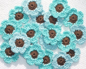 20 cotton crochet applique flowers in brown and aqua thread  -- 1367
