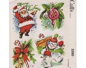 Vintage Pattern McCalls 2280 Jolly Santa Snowman1958 Water Decal Christmas Kitsch