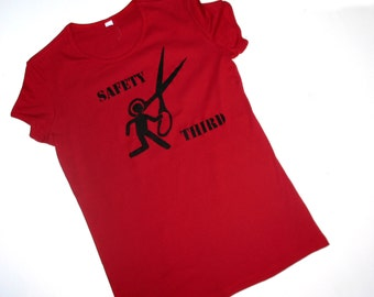 Runs With Scissors Safety Third tshirt  Cardinal Red Womens tshirt safety 3rd longer length womens clothing running with scissors dangerous