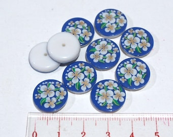 10 Vintage blue floral glass cabochons 15mm