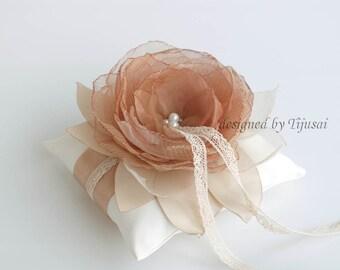 Wedding pillow with brown/burgundy flower---wedding rings pillow , wedding pillow