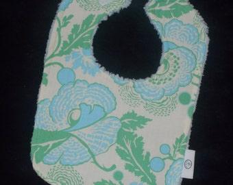 Amy Butler Blue Poppies and Chenille Bib - SALE