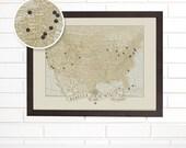 Push Pin Map, Vintage USA Travel Map, Customized USA Wedding Anniversary Pushpin Wall Map Art