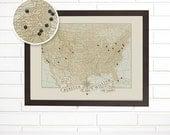 Vintage USA Map Wall Art, Custom Wedding Anniversary, Pushpin Travel Map