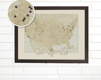 Vintage USA Map Wall Art, Custom Wedding Anniversary, Pushpin Travel Map