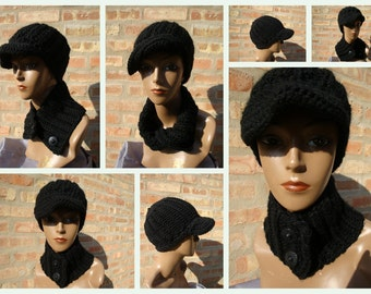 Black Hat and Neckwarmer Set - Cowl, Cap, Crochet hat set - handmade cap and scarf