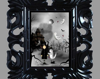 Halloween Art Print -- Spooky Friends -- Goth Girl - Ghosts - Bats - Black Cat - Haunted House - 8x10