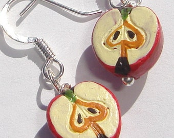 petite ceramic sliced red apples from Peru pierced dangle hand made wire wrapped earrings Teacher Gifts