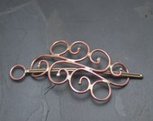 Metal Hair Barrette or Clip Shawl Pin with Stick