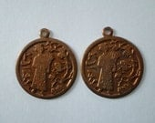 Pair Vintage Brass Asian Coin Charm 22mm