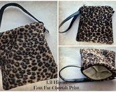 L'il Hipster zipper pouch cell phone pouch faux fur Cheetah print