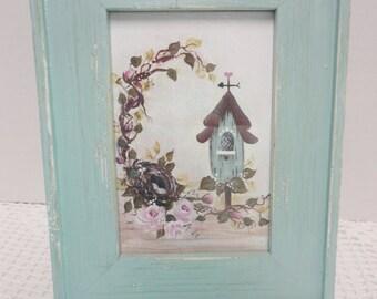 Aqua Framed Hand Painted Canvas Print, Bird House, Rose Vine and Nest, Shabby Home Decor, ECS, CSSTeam