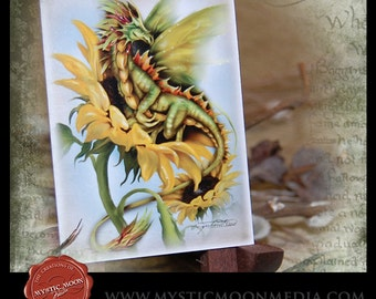 LIMITED...Summer Dragon... ACEO / ATC.. Fantasy Picture...Season of the Drakon... Sunflower