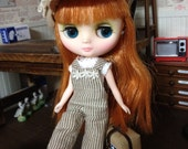 Middie Blythe size Stripe Overall and white top