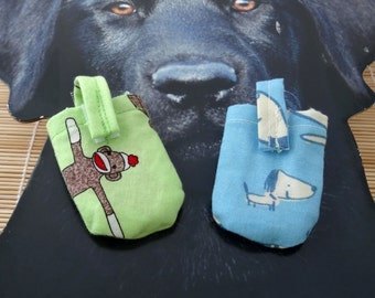 Sock Monkey or Blue Dog Hush Puppy Dog Tag Covers