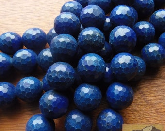 Faceted Lapis Lazuli Strand,18 mm, Deep Blue, Afghanistan, Item JE34