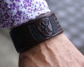 Leather Wristband-Celtic Leather Wristband-Celtic Knot Work Wristband-Mens Leather Wristbands-Custom Leather Wristbands Rampant Lion