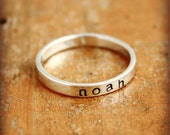 Personalized name ring. Sterling silver hand stamped ring - stacking name ring with lowercase letters
