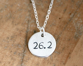 26.2 marathon running necklace - marathon necklace - gift for her - running jewelry - sterling silver for runner