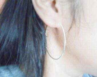 60 mm Large Silver Hoop Earrings, 925 Sterling Silver, Women Hoop Earrings, Skinny Hoop, Unisex Hoop Earrings, Cartilage hoop, CUSTOMIZE