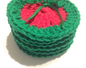 Red Seedless Watermelon Crocheted Face Scrubbies-Miniature Set Of Six