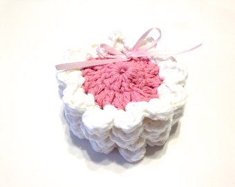 Pink And White Crocheted Face Scrubbies- Variegated Miniature Set Of Five