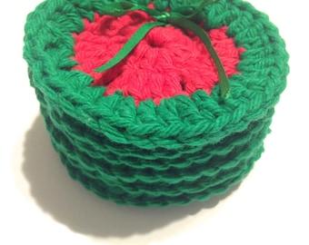 Red Seedless Watermelon Crocheted Face Scrubbies-Miniature Set Of Six