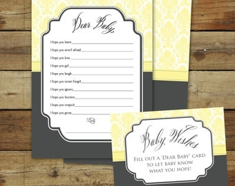 Printable baby shower game in yellow damask, Baby Wishes, instant download