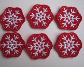 Red Snowflakes with White stitching Felt Applique - Embellishments - 265