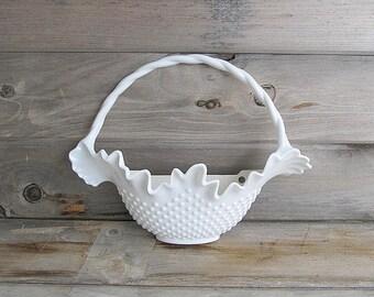 Vintage Hobnail Basket, Flower Basket, Wall Basket, Hanging Basket, Plastic 1984