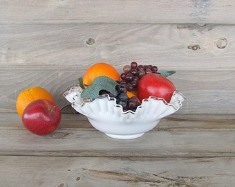 Vintage Milk Glass Bowl, Silver Crest Bowl, Fruit Bowl, Wedding Centerpiece, Fenton Bowl