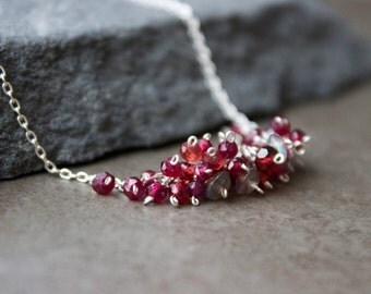 Crimson Red Garnet Gemstone Necklace, Garnet Chocker, Cluster necklace,Petit Jewelry, Gemstone cluster, Red cluster, Sterling chocker
