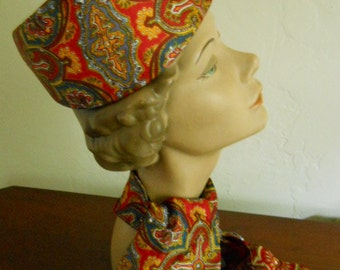 Collector's Vintage 60s 70s Raymond Hudd Chicago Silk Paisley Pillbox Hat Scarf Set