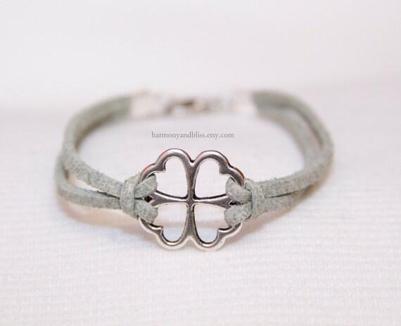 4 Leaf Clover good luck charm niall bracelet (green) 1d irish ireland