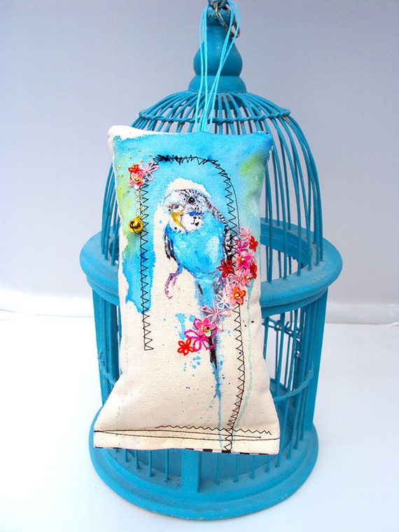Budgie art. Embroidered and painted bird. Miniature cushion. Flowery Budgie. Original by MimiLove