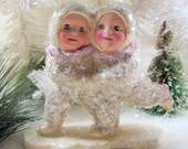Vintage Style Snowbaby Skating Duo Figurine/Ornament Arm in Arm With Mauve Chenille Scarves Handmade Collectible