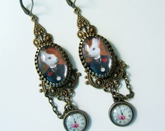 White Rabbit Earrings -  Wonderland Earrings - Original White Rabbit - Pocket watch Rabbit Earrings - Alice Wonderland Earrings